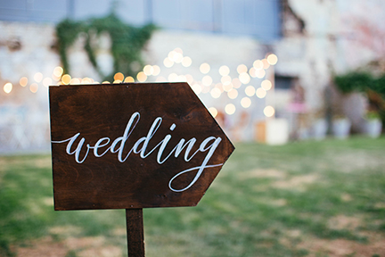photo of a sign that says wedding