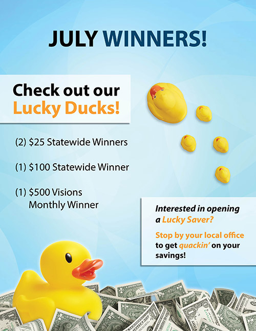July Winners - Two $25 statewide winners, one $100 statewide winner, one $500 Visions monthly winner