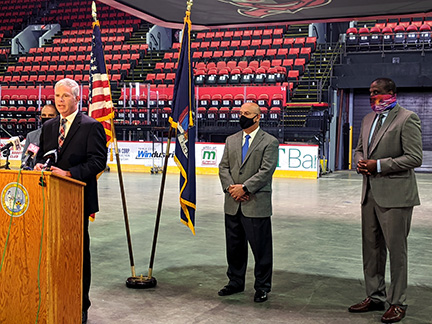 Visions Federal Credit Union Veterans Memorial Arena press conference