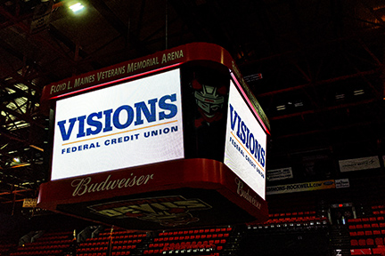 Visions FCU logo displayed on the arena's overhead display