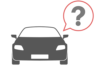 car icon with a question mark in a bubble above it