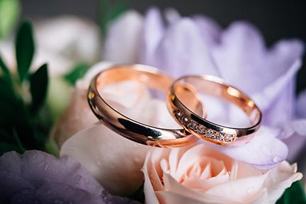 a pair of wedding rings